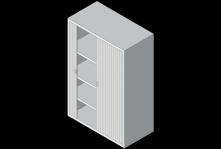 tambour door cabinet illustration with door open